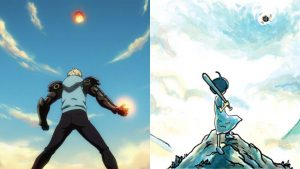 Genos and Minus against a meteor